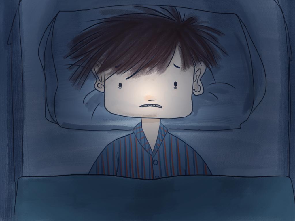 Es de noche y Papelucho está en su pieza, acostado con los ojos abiertos.