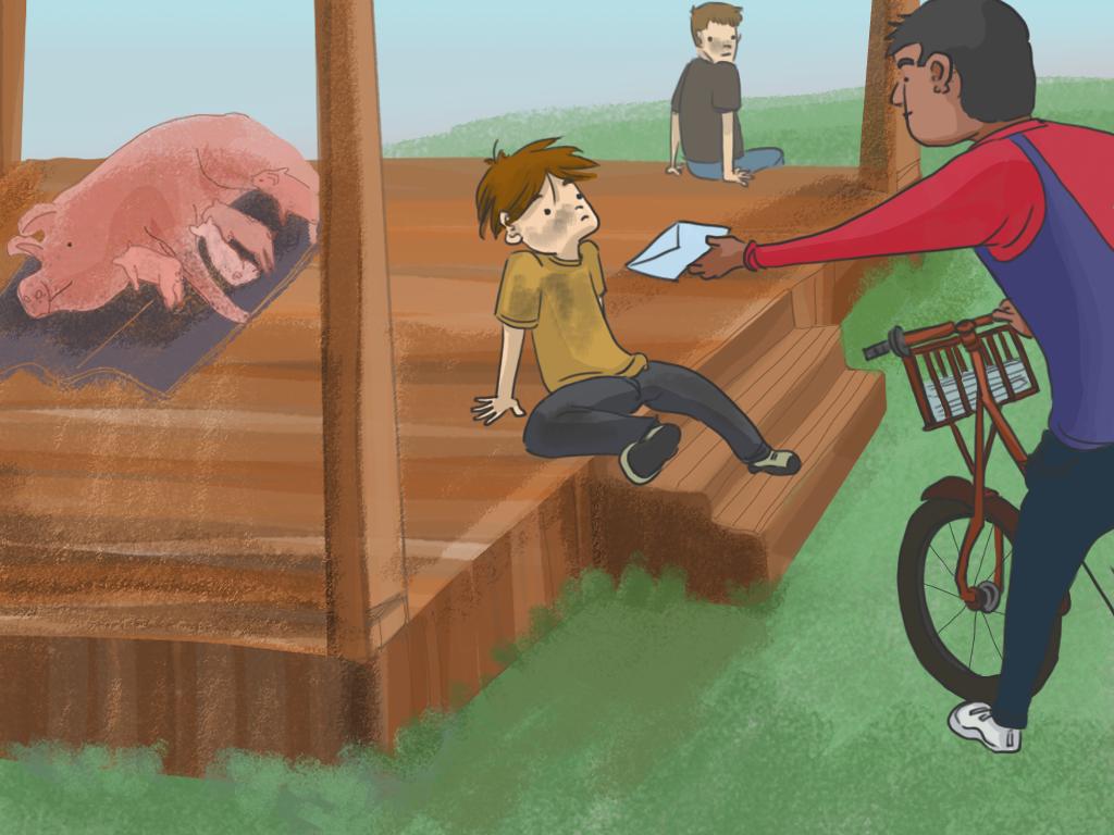 Un cartero entrega una carta a Papelucho, mientras él y su hermano están sentados fuera de la casa de campo