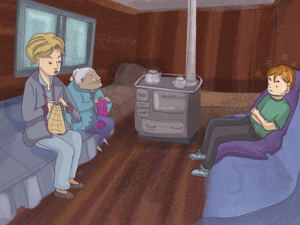 Papelucho, su mamá y la tía Rosarito están sentados en el living de la casa de la tía Rosarito.