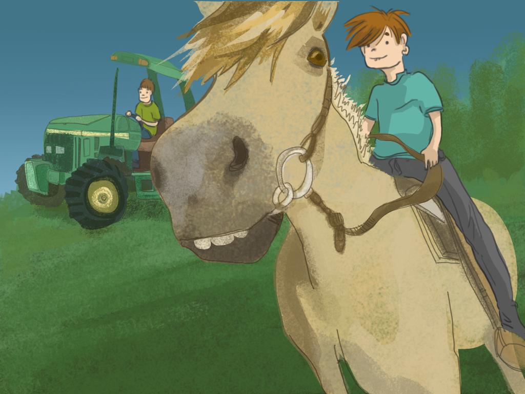 Papelucho está montando un caballo en el campo.