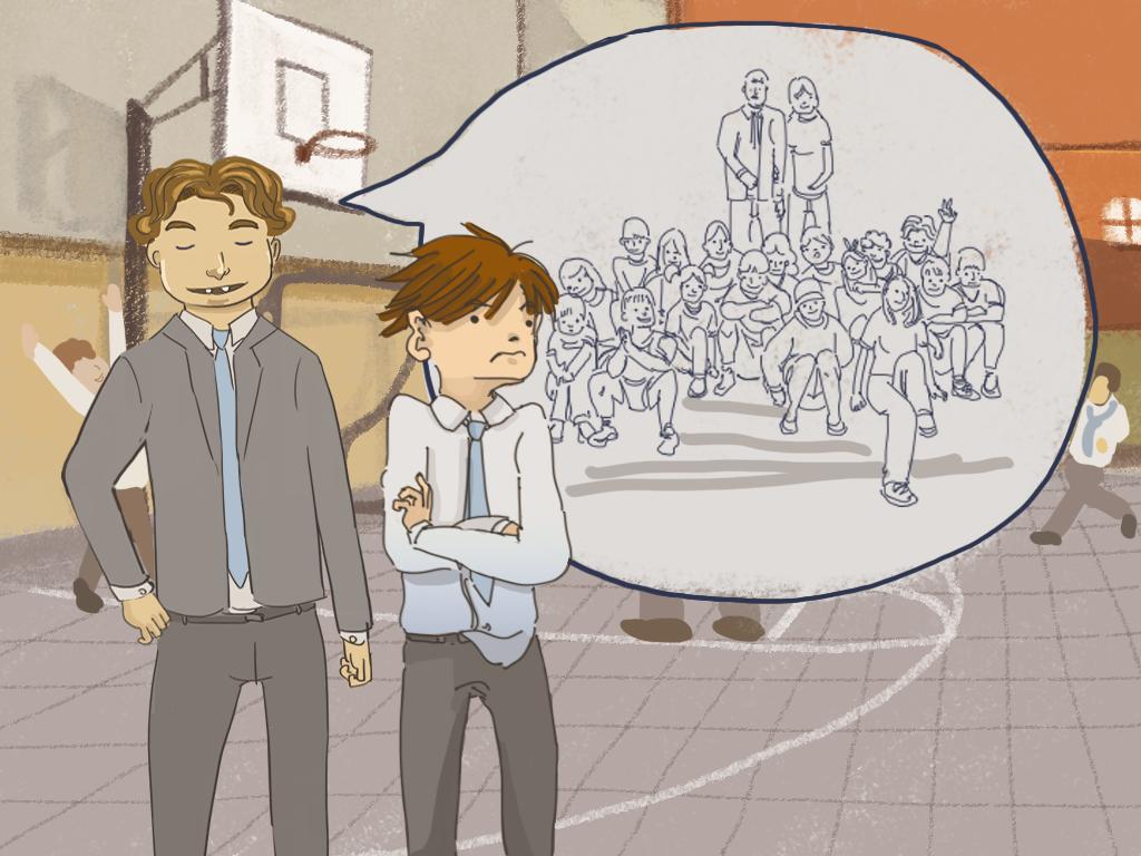 Roberto Ugarte le cuenta a Papelucho sobre sus dos papás y dieciocho hermanos en el patio del internado.