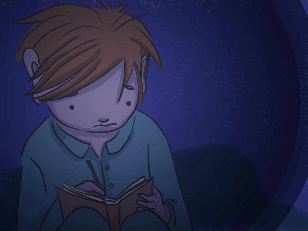 Papelucho está acostado en la cama del dormitorio mientras escribe en su diario.