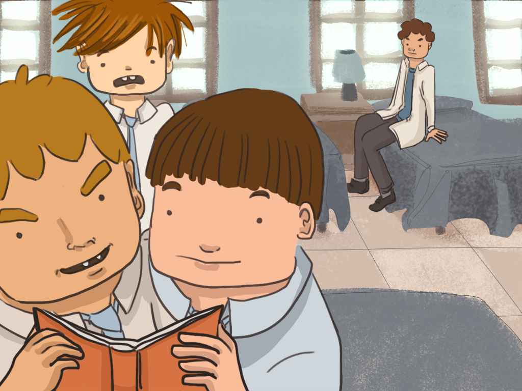 Papelucho está mirando dos compañeros que están leyendo su diario en el dormitorio del internado.