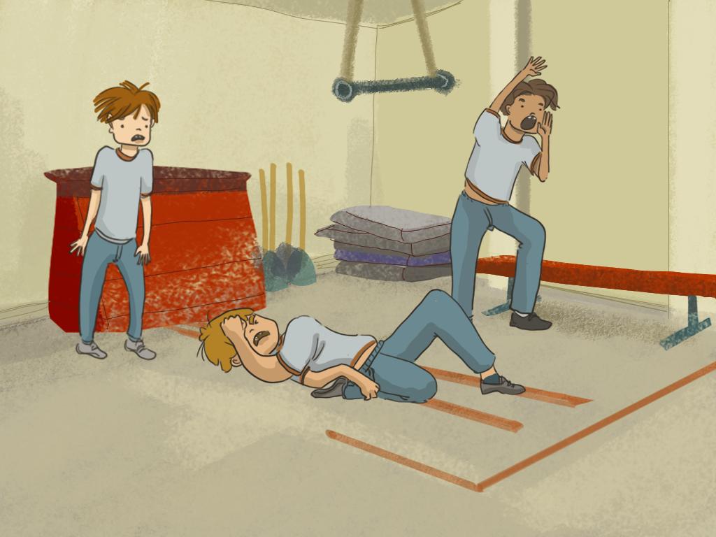 Papelucho mira a Cariola que está tirado en el piso del gimnasio.
