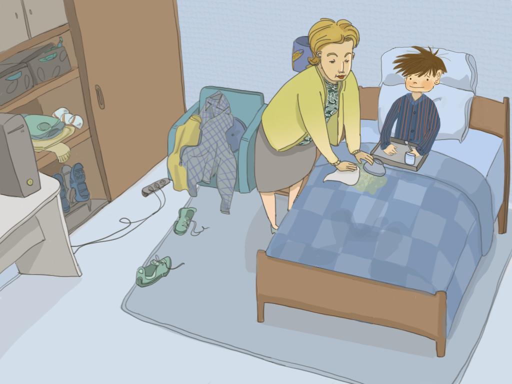 La mamá de Papelucho limpia el cobertor de la cama de Papelucho, miestras Papelucho está acostado tomando desayuno.