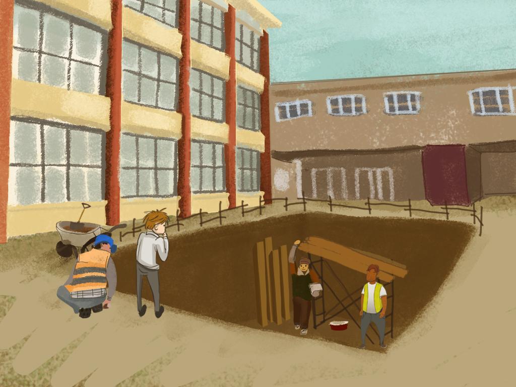 Papelucho está mirando un gran agujero de construcción en el patio del internado.