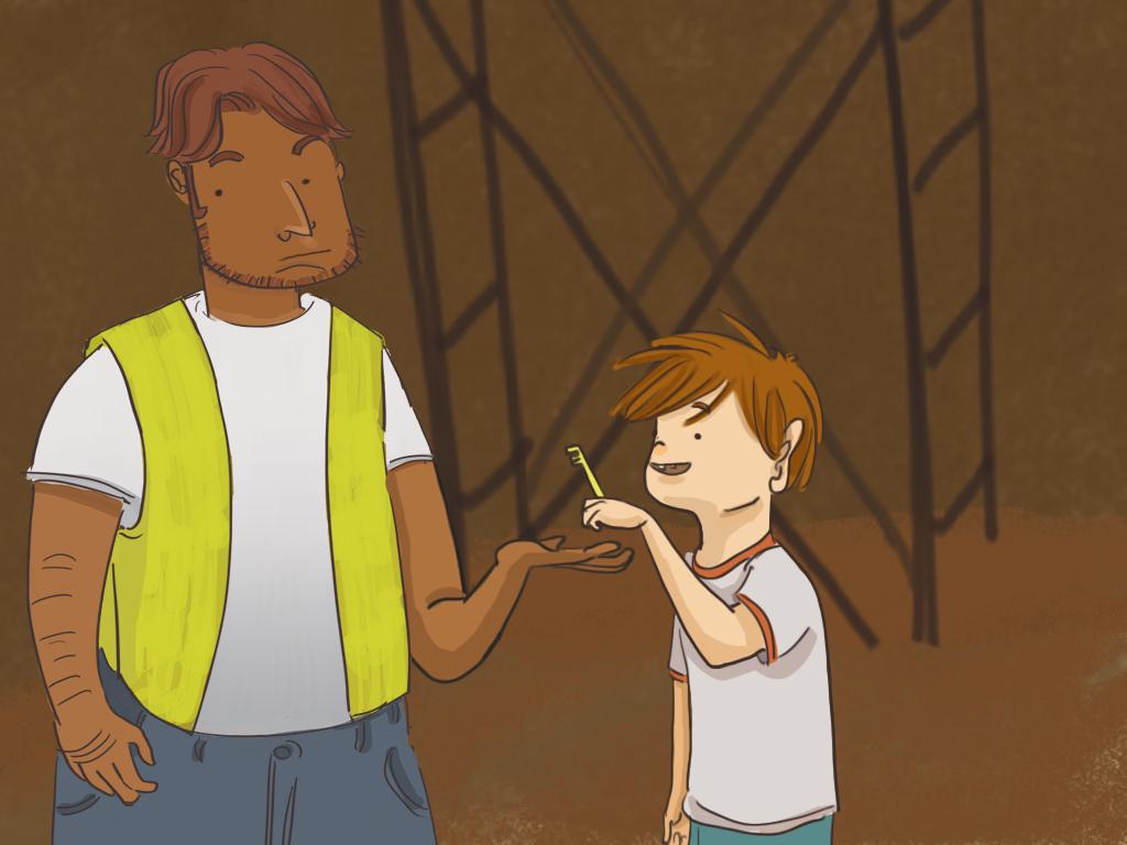 Papelucho le entrega la llave de la capilla al Chato Espiñeira