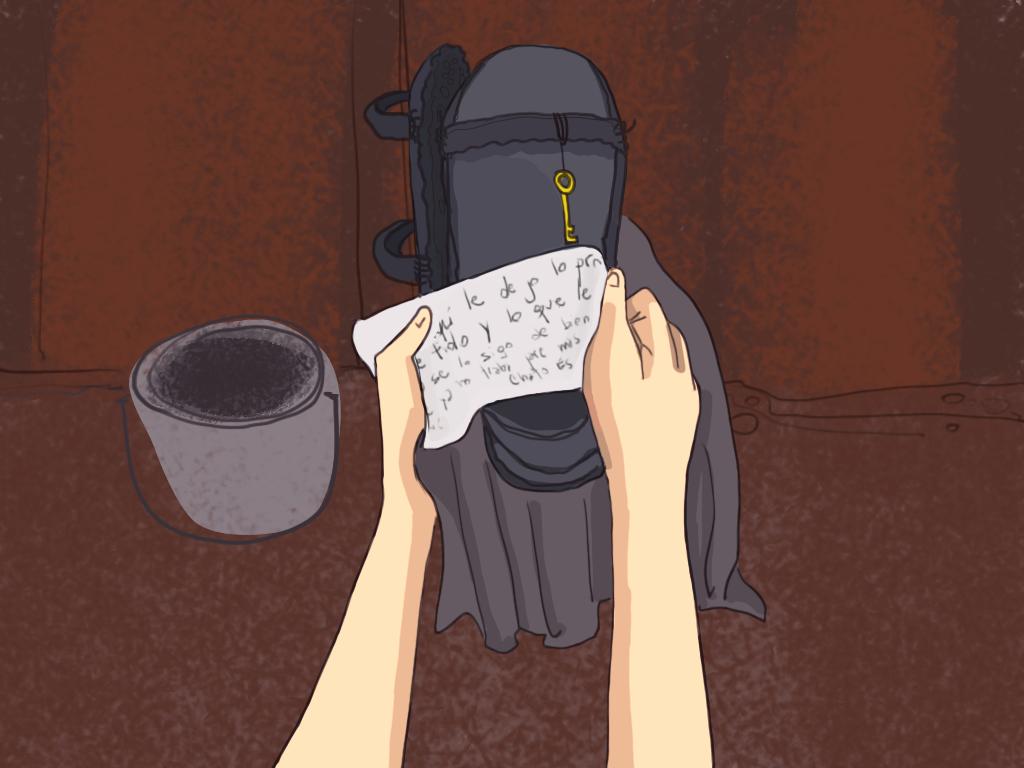 Papelucho lee una nota del Chato Espiñeira dentro del agujero de construcción.