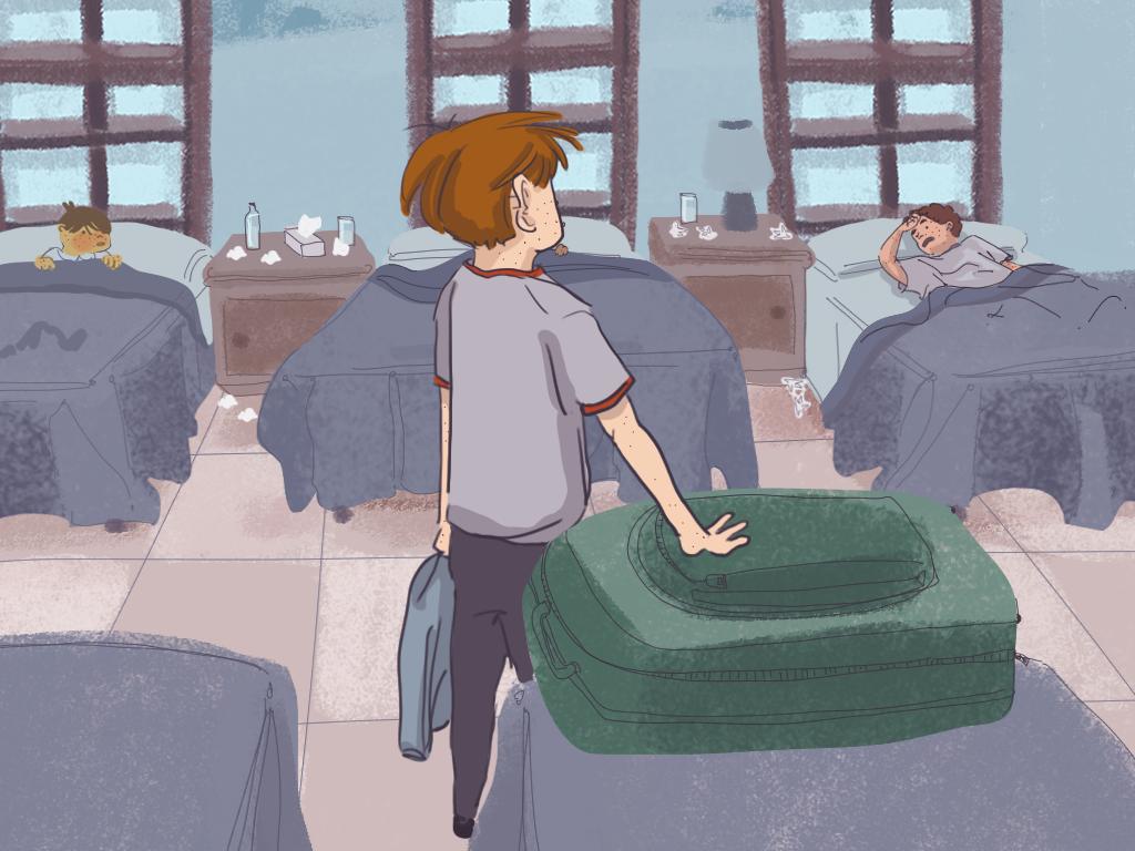 Papelucho está de pie junto a su cama en el dormitorio del internado mientras algunos de sus compañeros están acostados.