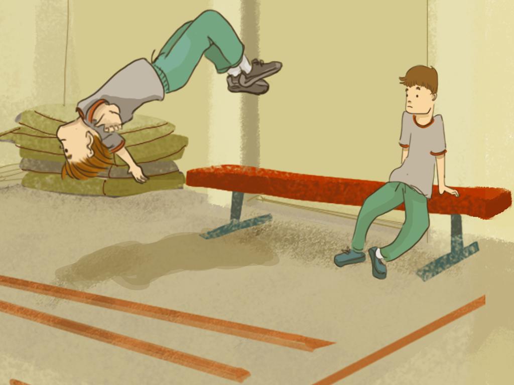 Papelucho está haciendo un salto mortal en el gimnasio del internado junto a Javier.