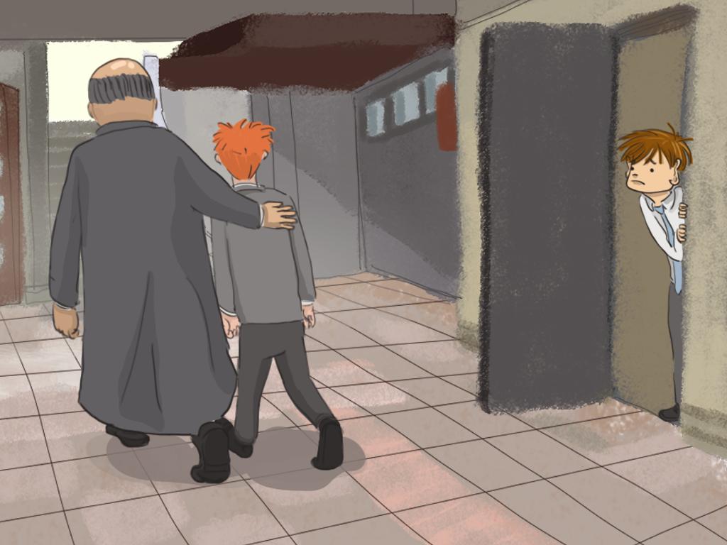 El padre Carlos está acompañando a Cifuentes hacia afuera mientras Papelucho mira parado en la puerta de una sala.