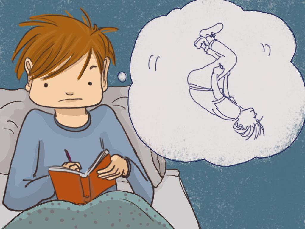 Papelucho está escribiendo en su diario, mientras piensa en el salto mortal que hizo el día anterior.