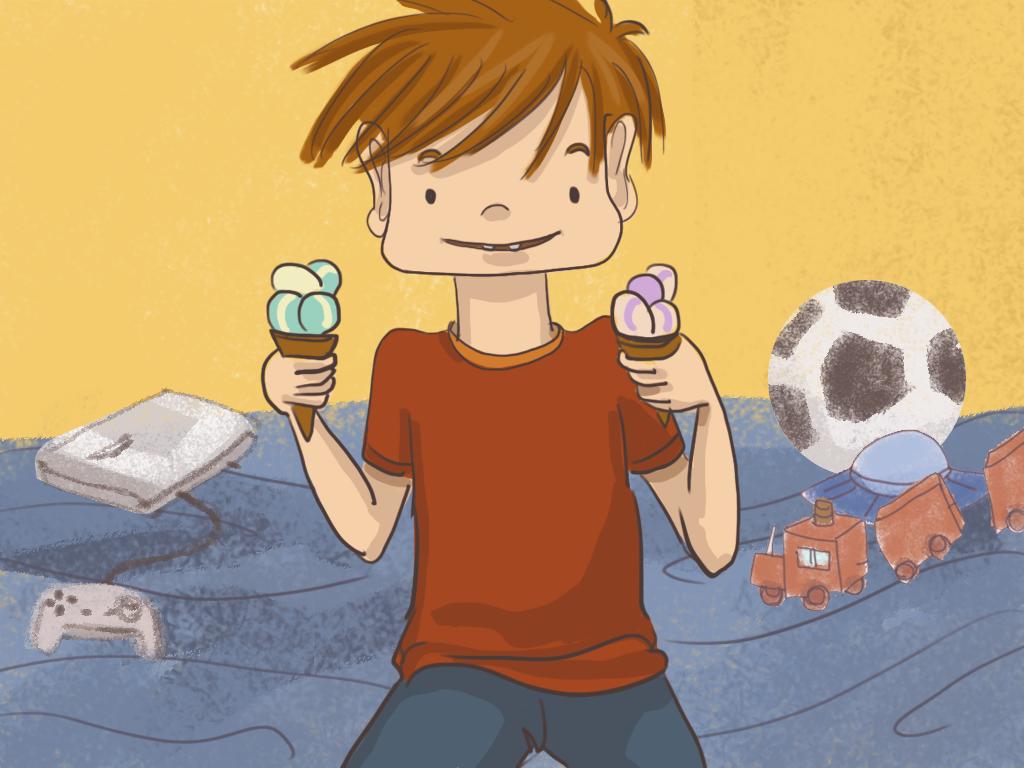 Papelucho sostiene un cono de helado en cada mano.