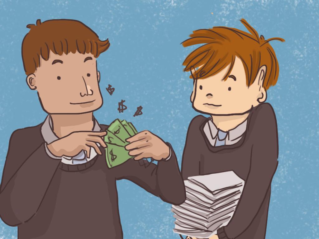 Papelucho carga muchos papeles y Gómez mira los billetes que tiene en la mano.