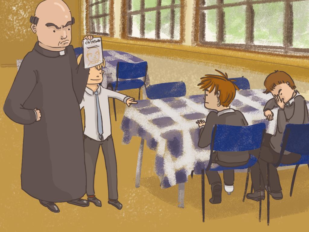 Urquieta apunta con el dedo a Papelucho. El padre Carlos le muestra enojado la revista a Papelucho.
