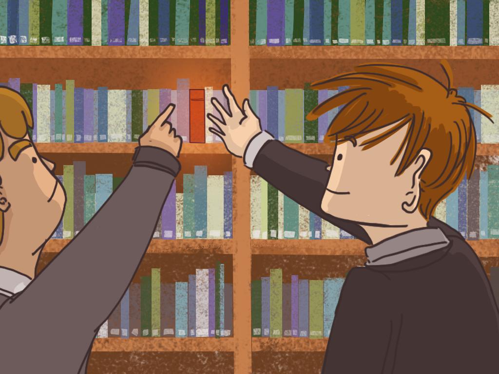 Papelucho está buscando algo entre varios libros.