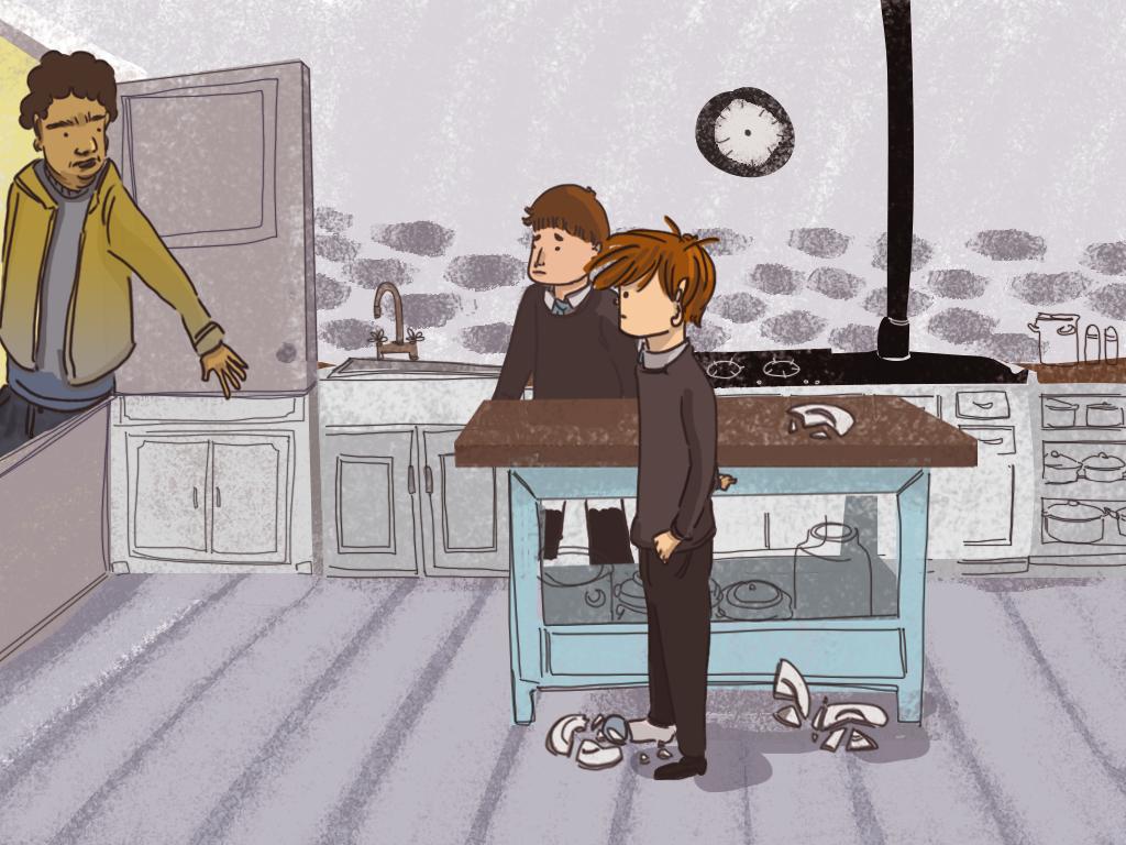 Papelucho y Gómez están en la cocina del internado, y ven cómo un hombre se asoma por la puerta.
