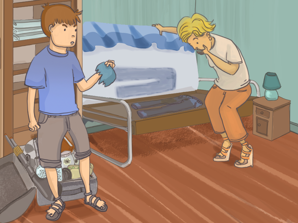 Javier le muestra a su mamá los pantalones manchados bajo el colchón de Papelucho.