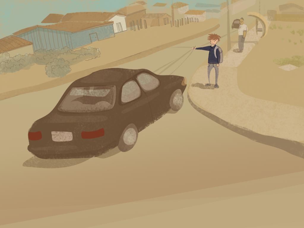 Papelucho está en la calle y hace señas a un auto para que lo lleve.