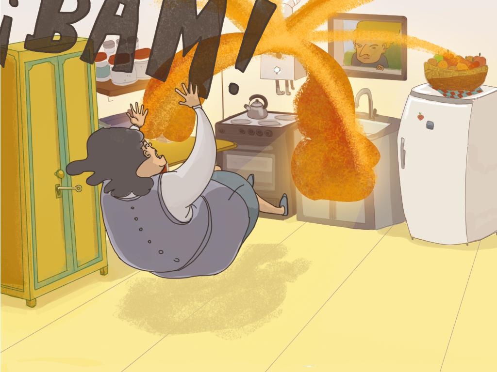 En la cocina, Domitila salta hacia atrás por la explosión del califont