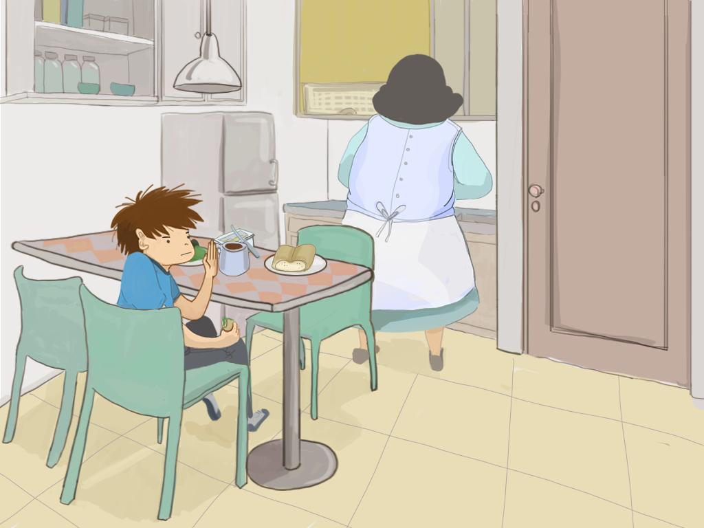 Papelucho y Domitila están en la cocina.