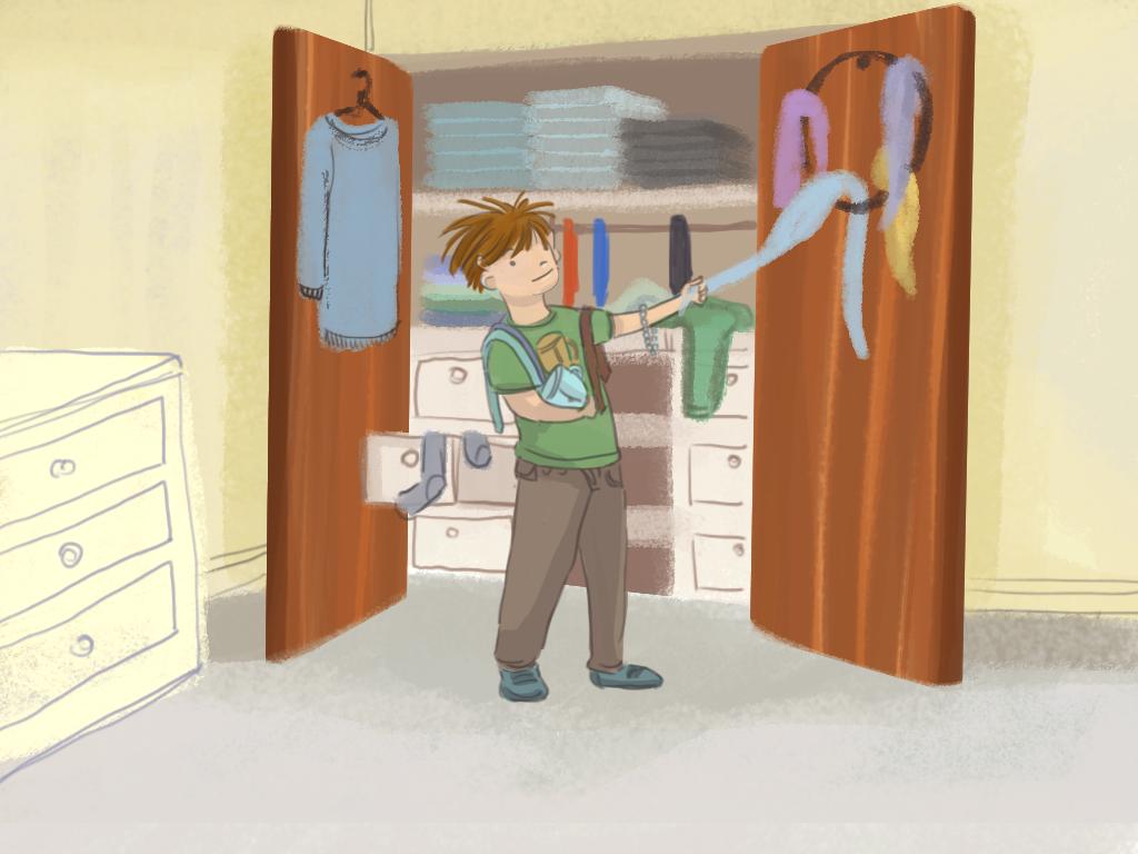 Papelucho saca corbatas de su padre y otras cosas del armario.