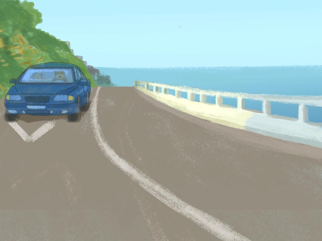 En la carretera se ve el auto familiar alejandose de la playa.